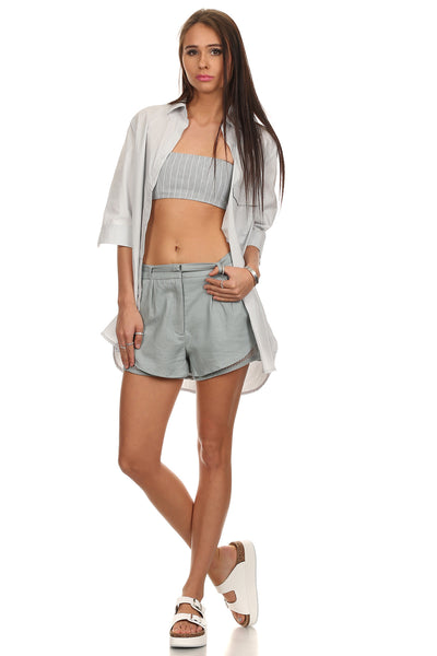 Mesh Layered Linen Chino Shorts-3