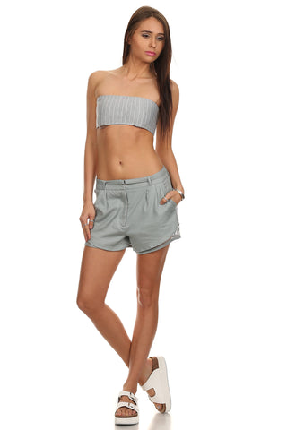 Mesh Layered Linen Chino Shorts-6