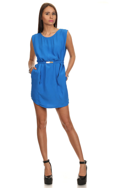 Cobalt Blue Flounce Shift Dress with Belt-1