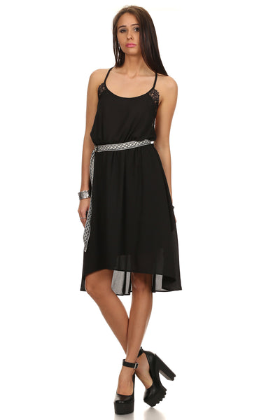 Dobby Woven Shift Dress with Center Back Pleats-1