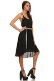 Dobby Woven Shift Dress with Center Back Pleats-4