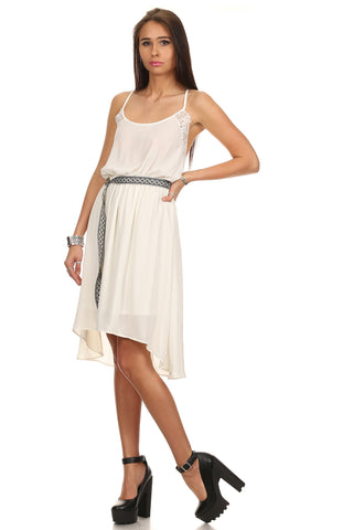 Dobby Woven Shift Dress with Center Back Pleats-9