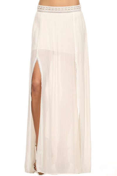 White High Slit Maxi Skirt-2