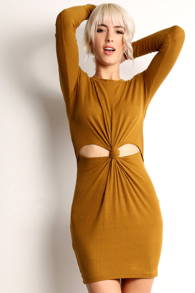 Ribbed Middle Knot Dress-4