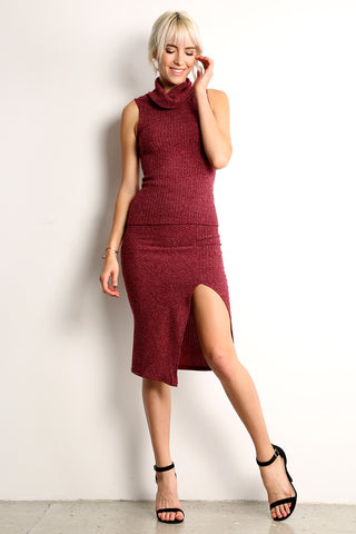 Knit Bodycon Two Piece Top and Skirt Set-3