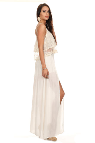 White High Slit Maxi Skirt-1