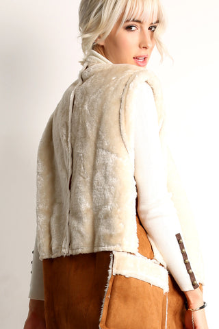 Leona - Faux Fur & Leather Zip Up Vest