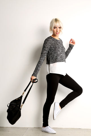Contrast Fabric Sweater Top w/ Layered Look-1