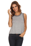 Knit Tank Top with Striped Trim-12