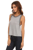 Knit Tank Top with Striped Trim-13