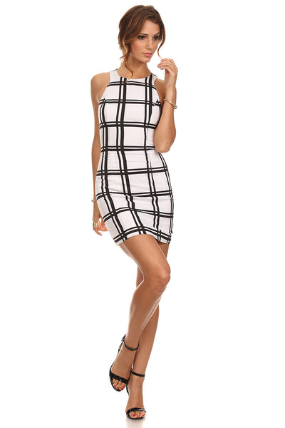 Plaid Print Racerback Dress-3