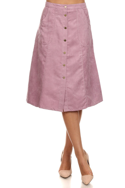Lilac - Faux Suede A-Line Skirt
