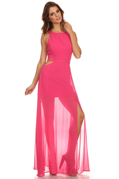 Chiffon Maxi Dress with Cut Out Sides-2
