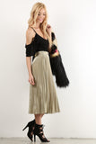 Noreen - Pleated Shimmer Midi Skirt with Side Zipper