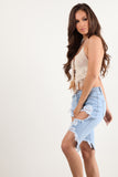 Light Stone Blue Wash Destroyed Bermuda Denim Shorts-2