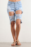 Light Stone Blue Wash Destroyed Bermuda Denim Shorts-4