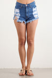High Waist Distressed Torn Frayed Denim Shorts-4