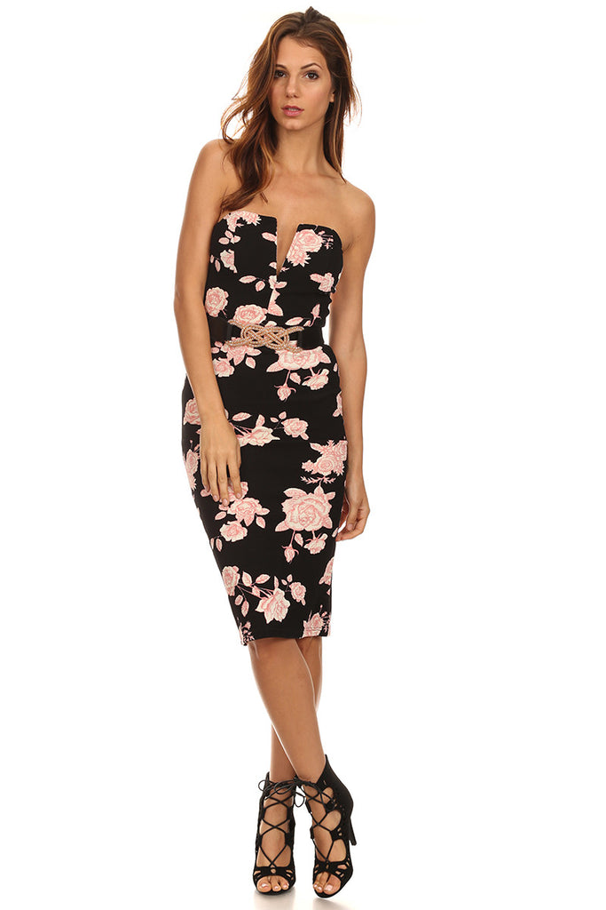 fe242e8a8c6 Evelyn - Rose Print Midi Dress – Meshme