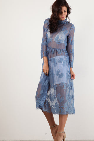 Charlene - Floral Patterned Sheer Layering Dress