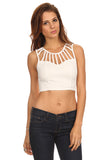 Cut Out Detail Crop Top-2
