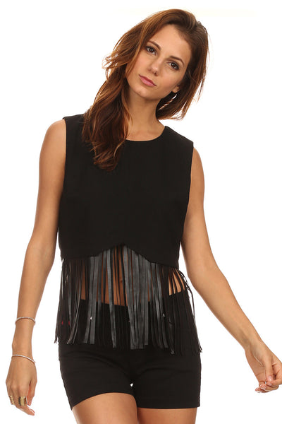 Crop Top with Faux Leather Long Fringe-2