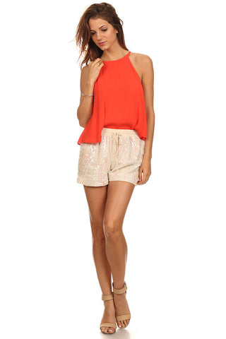 Janelle - Cream Sequin Embellished Shorts