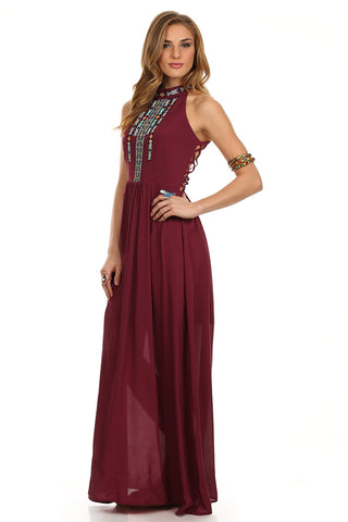 Tribal Boho Maxi Dress Maroon