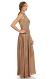 Tribal Boho Maxi Dress Tan-4