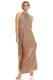 Tribal Boho Maxi Dress Tan-1