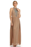 Tribal Boho Maxi Dress Tan-3