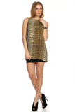 Gold Metallic Mini Dress-1