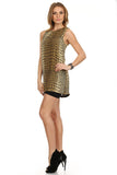 Gold Metallic Mini Dress-2