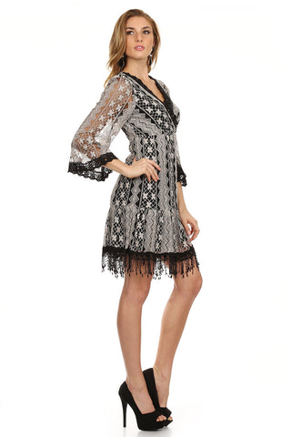 Lace Fringe Dress Black-4