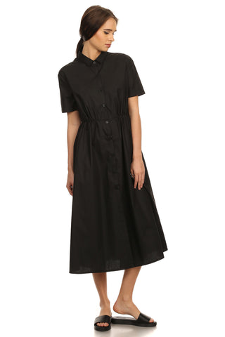 Spencer- Solid Button Down T-shirt Dress-9