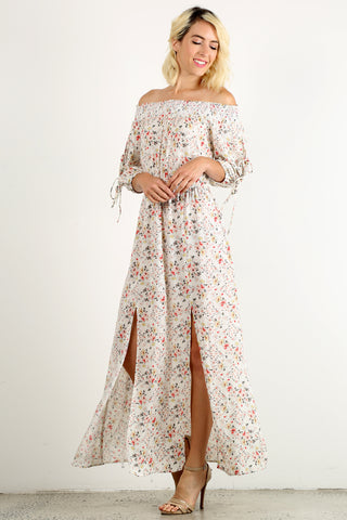 Danielle - Smocked Off Shoulder Floral Print Maxi Dress
