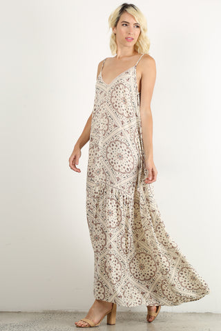 Elena - Tribal Floral Pattern Spaghetti Strap Maxi Dress