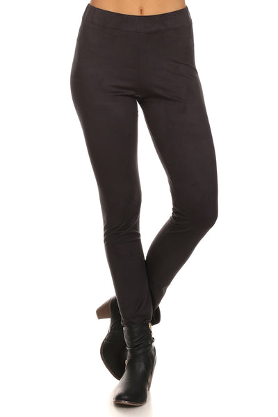 Faux Suede Full Length Leggings-6