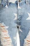 Mackenzie - Rustic Star Print Destroyed Boyfriend Denim