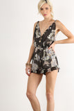 Sweet Pea - Floral Printed Open Back Romper