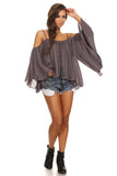 Batwing Sleeve Off Shoulder Top-21