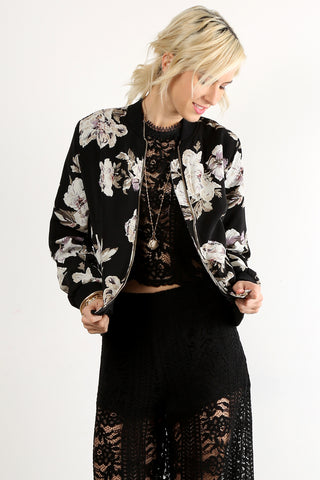 Marlene - Floral Printed Zip Up Bomber Jacket