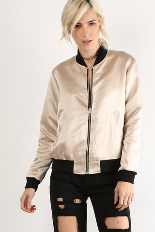 Sandra - Zipper Upper Bomber Jacket with Black Trim