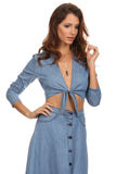 Chambray Top and Skirt Set-2