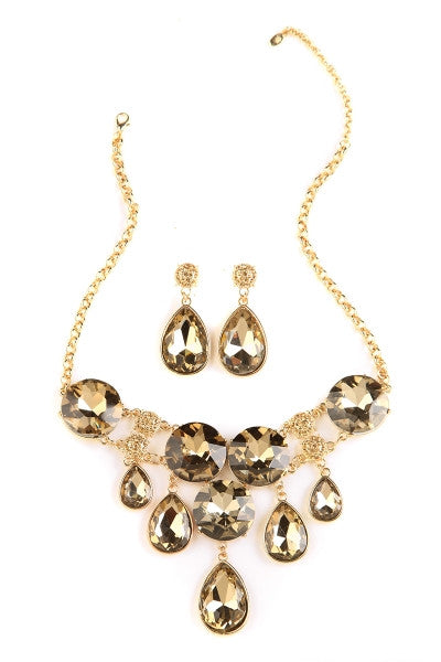Bronze Drop Crystal Statement Necklace-1