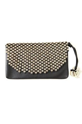 Crystal Studded Foldover Clutch Black-1