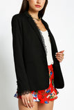 Reese - Lace Trim Detail Long Blazer