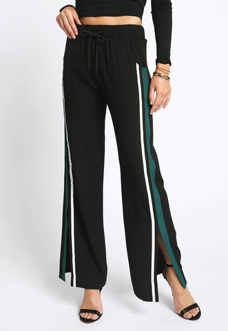 Bolt - Taped Slit Side Striped Drawstring Pants