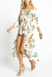 Danielle - Off Shoulder Skirt Train Over Shorts 2Fer Romper Dress