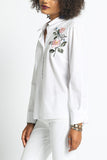 Evelyn - Floral Embroidered O-Ring V Neck Back Button Up Blouse