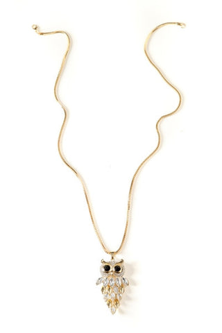 Crystal Hanging Owl Pendant Necklace-1